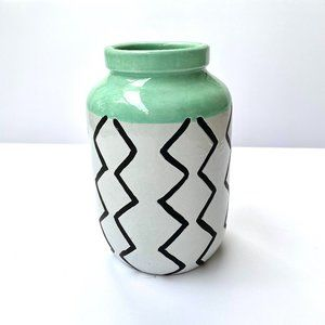 Threshold Vase with Black White and Mint
